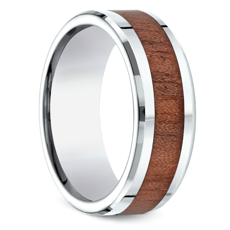 Rosewood Inlay Men's Wedding Ring in Cobalt | 02