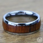 Ironside - Domed Tungsten Mens Band with Rosewood Inlay | Thumbnail 04