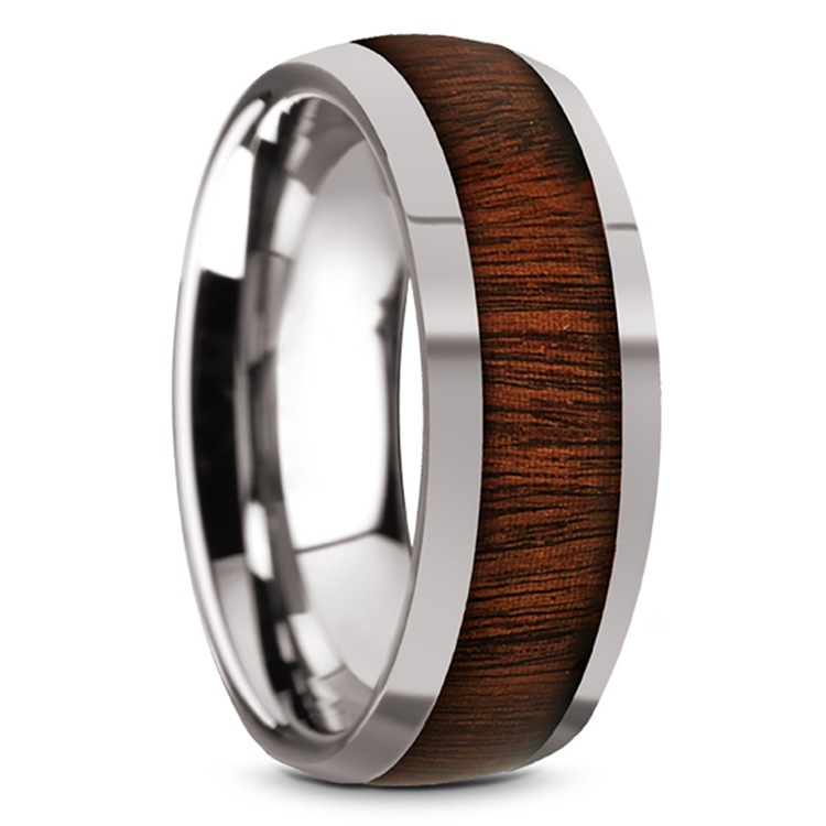 Ironside - Domed Tungsten Mens Band with Rosewood Inlay | 02
