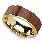 Rosewood Inlay Men's Flat Wedding Ring in Yellow Gold | Thumbnail 01