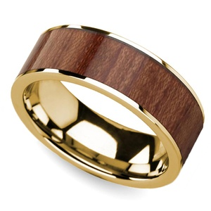 Rosewood Inlay Men's Flat Wedding Ring in Yellow Gold