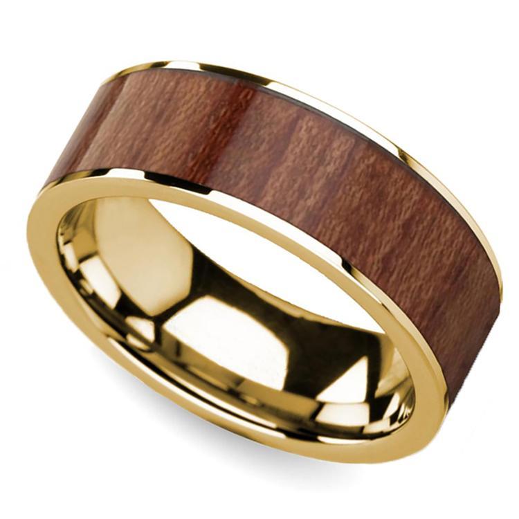 Rosewood Inlay Men's Flat Wedding Ring in Yellow Gold | 01