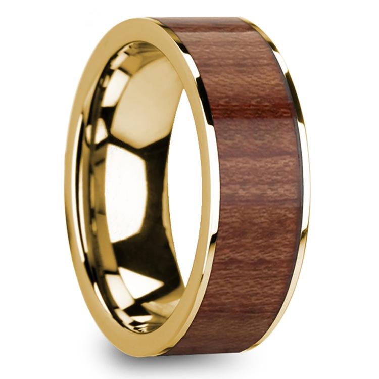 Rosewood Inlay Men's Flat Wedding Ring in Yellow Gold | 02