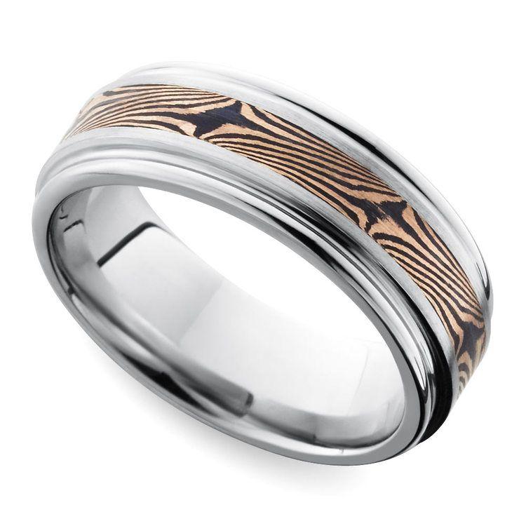 Rounded Edge Mokume Men's Wedding Ring in Cobalt | 01