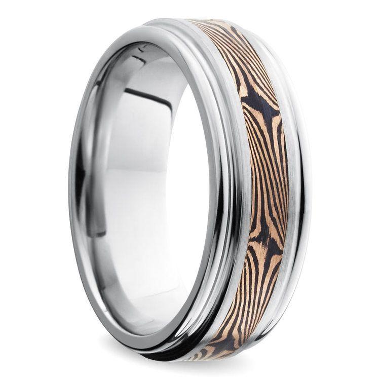 Rounded Edge Mokume Men's Wedding Ring in Cobalt | 02