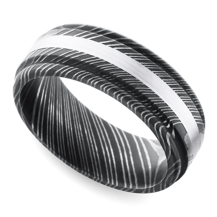 Rounded Edge White Gold Inlay Men's Wedding Ring in Damascus Steel | 01