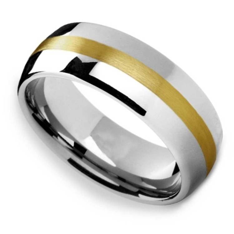 Equator - Rounded Tungsten Mens Band with 14K Brushed Yellow Gold Inlay | 01