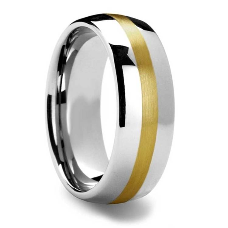 Equator - Rounded Tungsten Mens Band with 14K Brushed Yellow Gold Inlay | 02