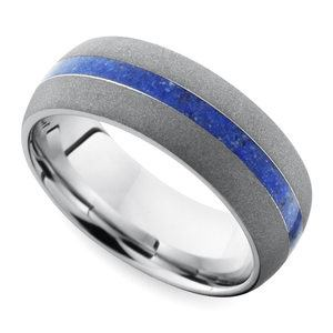 Sandblasted Wedding Ring with Lapis Inlay in Cobalt
