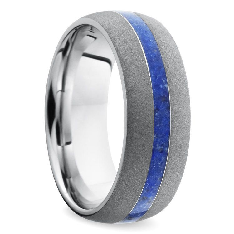 Sandblasted Wedding Ring with Lapis Inlay in Cobalt | 02