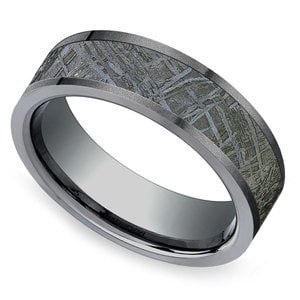 Stardust - Sandblasted Mens Meteorite Ring in Zirconium