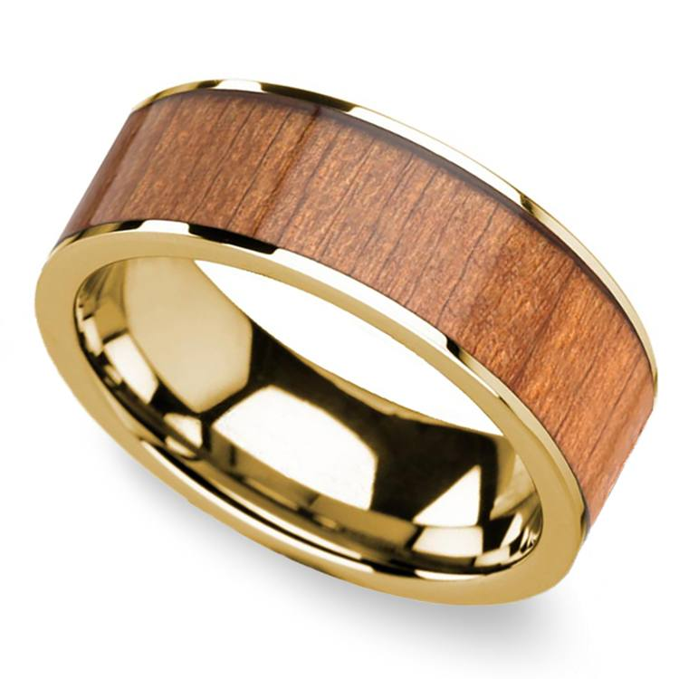 Sapele Wood Inlay Men's Flat Wedding Ring in Yellow Gold | 01