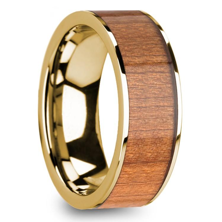 Sapele Wood Inlay Men's Flat Wedding Ring in Yellow Gold | 02