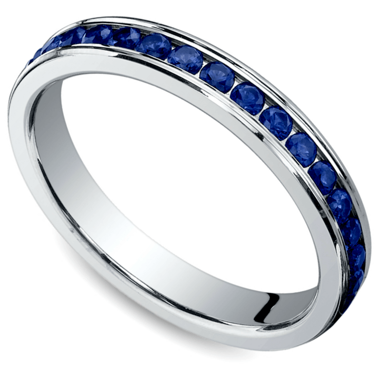 Channel Sapphire Eternity Ring in White Gold | 01