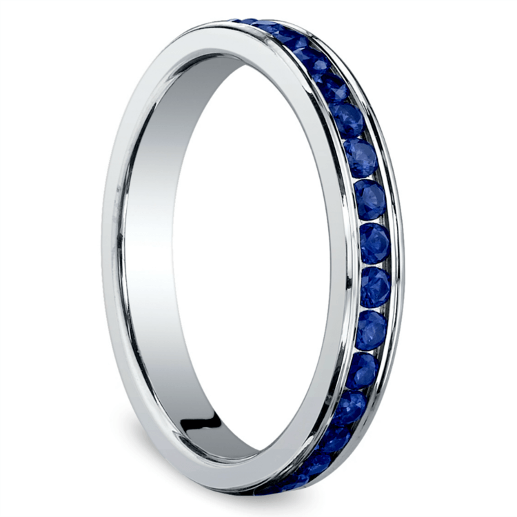 Channel Sapphire Eternity Ring in White Gold | 02