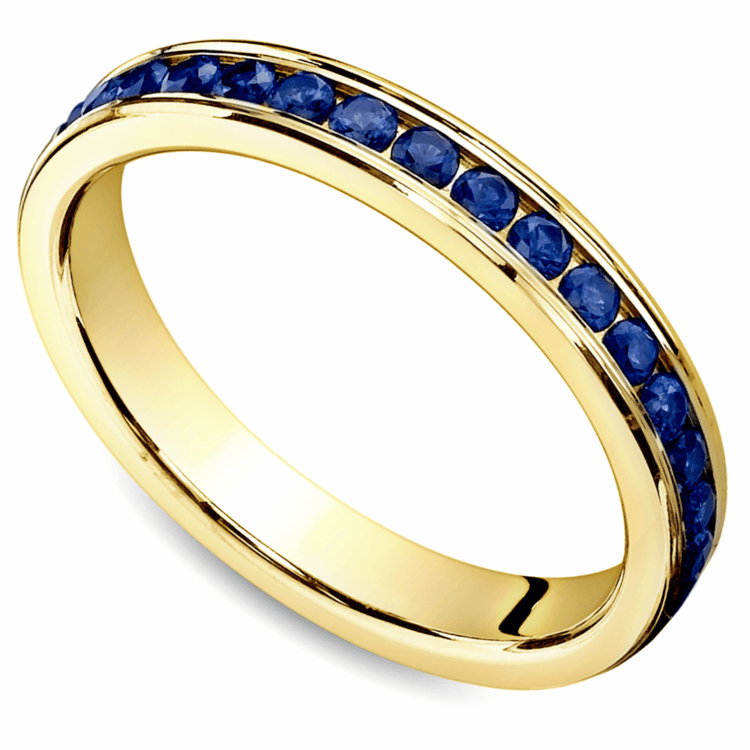 Channel Sapphire Eternity Wedding Ring in Yellow Gold | 01