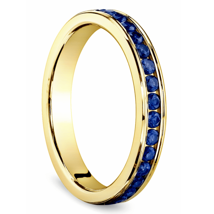Channel Sapphire Eternity Wedding Ring in Yellow Gold | 02