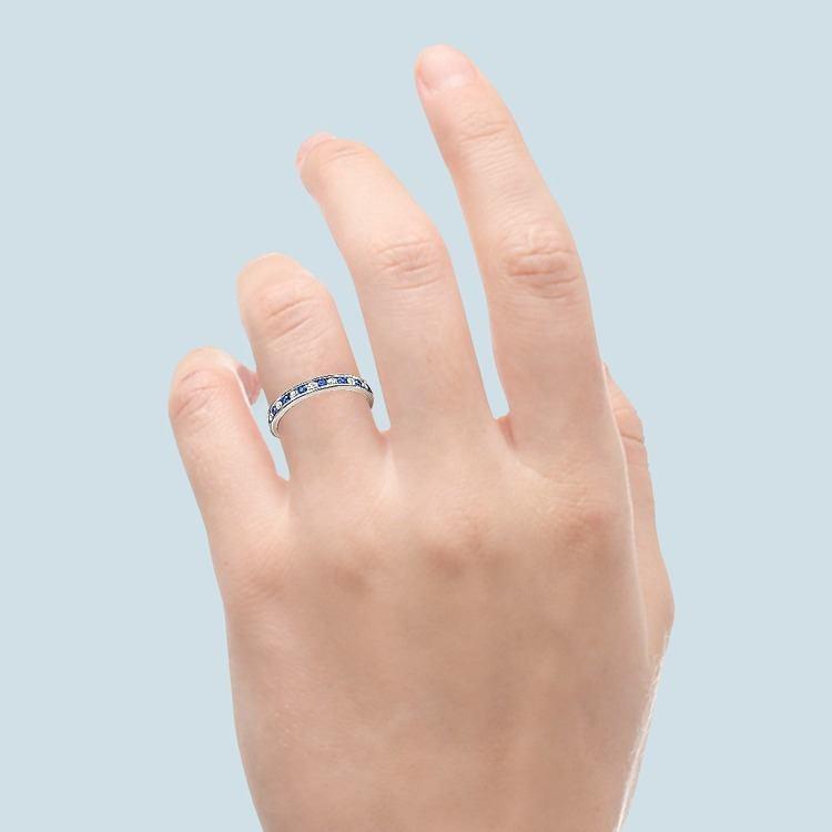 Diamond & Sapphire Eternity Ring in Platinum | 04