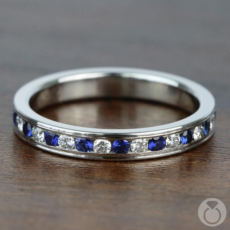 Diamond & Sapphire Eternity Ring in Platinum | 03