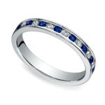 Diamond & Sapphire Eternity Ring in White Gold | Thumbnail 01