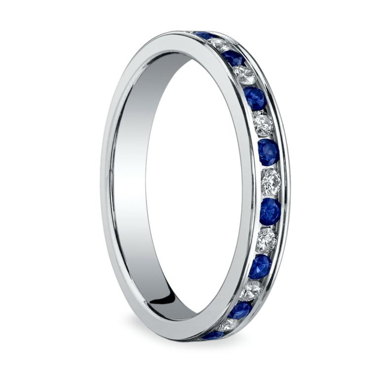 Diamond & Sapphire Eternity Ring in White Gold | 02