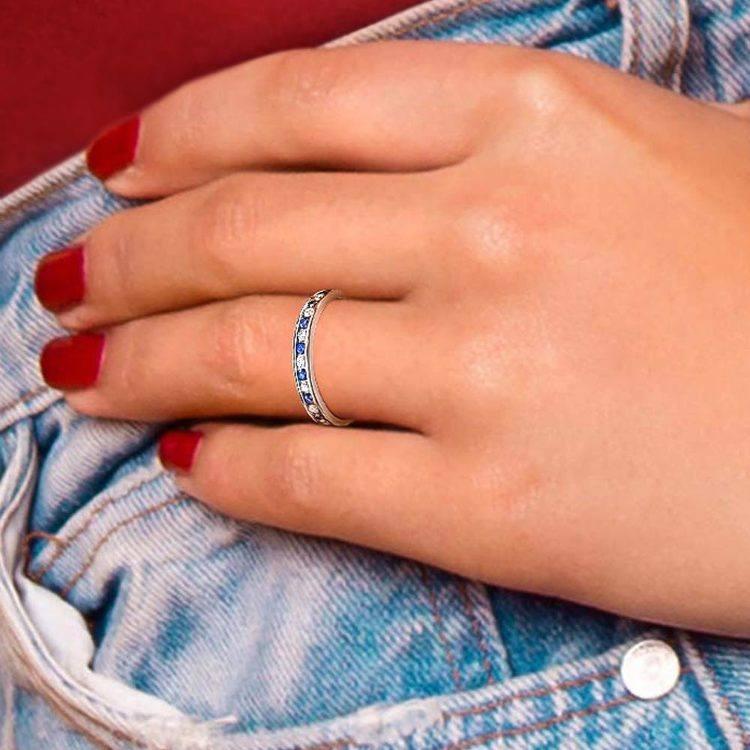 Diamond & Sapphire Eternity Ring in White Gold | 04