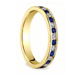 Diamond & Sapphire Eternity Ring in Yellow Gold | Thumbnail 02