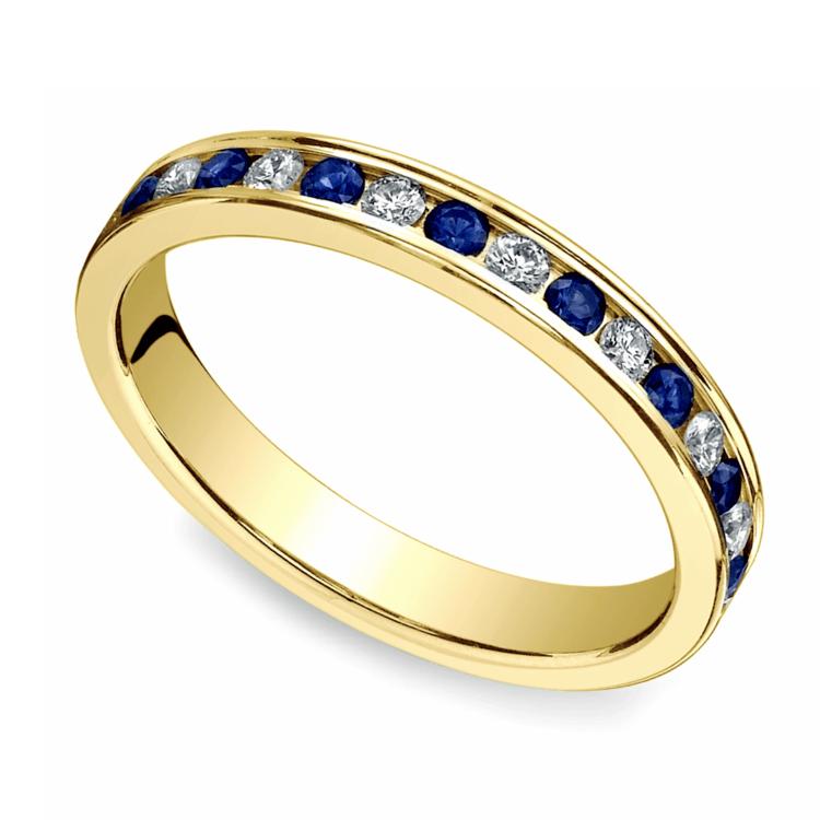 Diamond & Sapphire Eternity Ring in Yellow Gold | 01