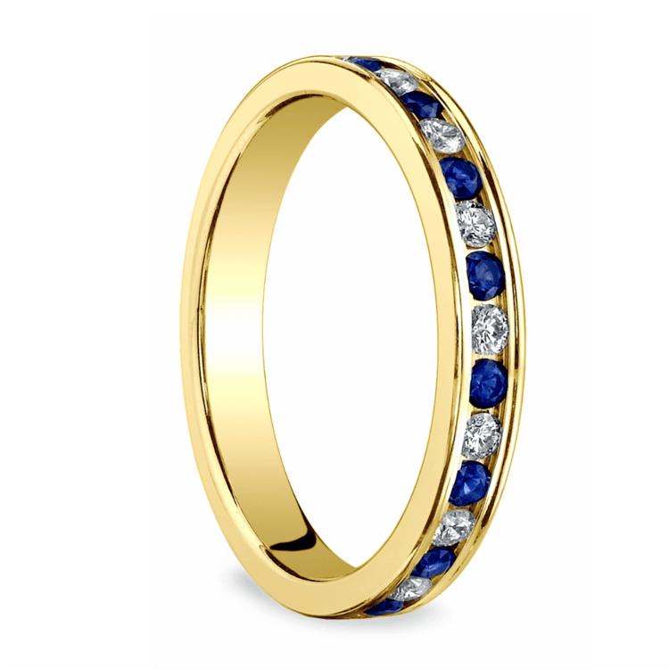 Diamond & Sapphire Eternity Ring in Yellow Gold | 02