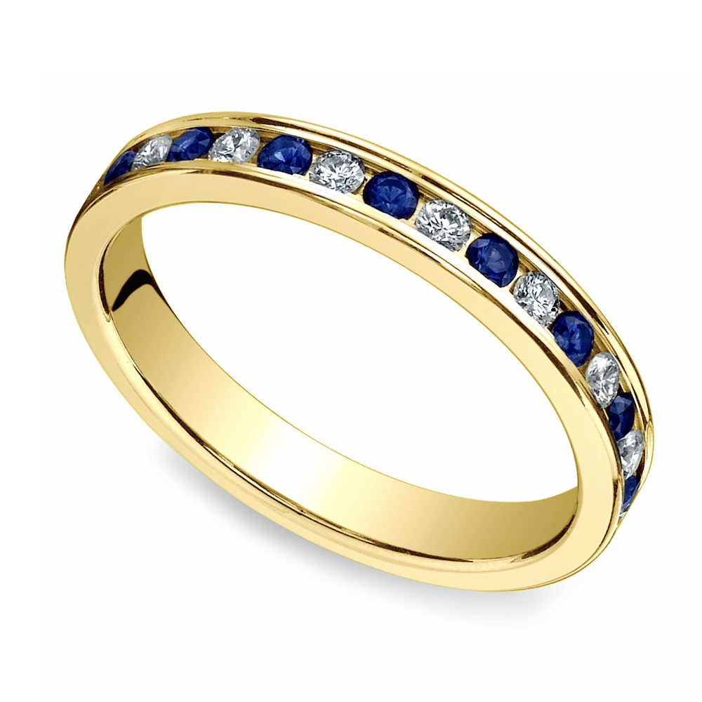 diamond sapphire eternity ring in yellow gold. Black Bedroom Furniture Sets. Home Design Ideas