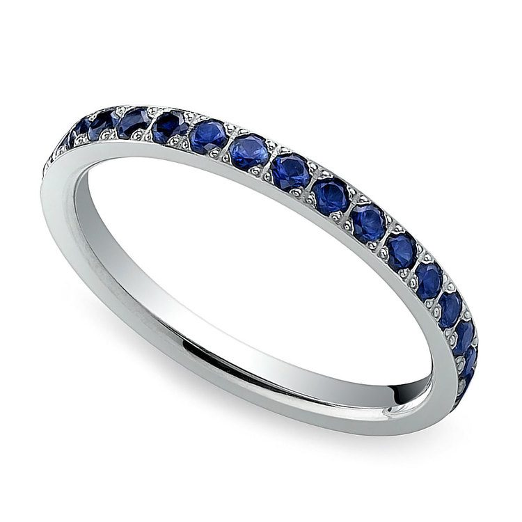 Pave Sapphire Eternity Ring in White Gold | 01