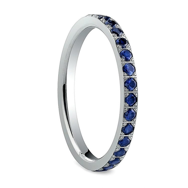 Pave Sapphire Eternity Ring in White Gold | 02