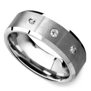 Satin Beveled Diamond Men's Wedding Ring in Tungsten