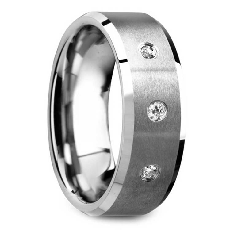 Satin Beveled Diamond Men's Wedding Ring in Tungsten | 02