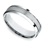 Satin Beveled Men's Wedding Ring in Platinum | Thumbnail 01