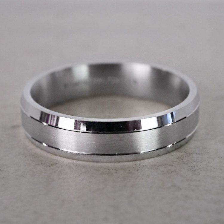 Satin Beveled Men's Wedding Ring in Platinum   03