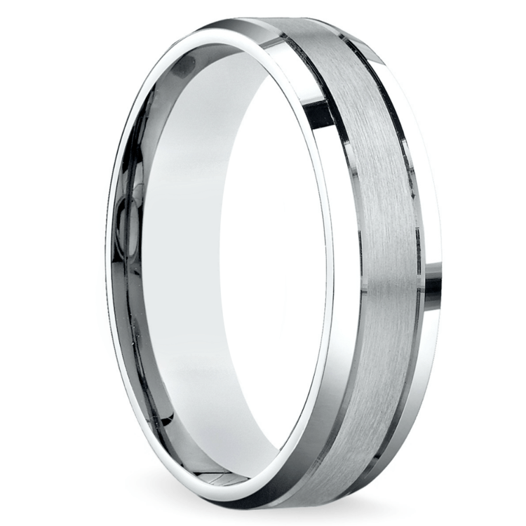 Satin Beveled Men's Wedding Ring in Platinum | 02