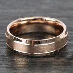 Satin Beveled Men's Wedding Ring in Rose Gold | Thumbnail 03