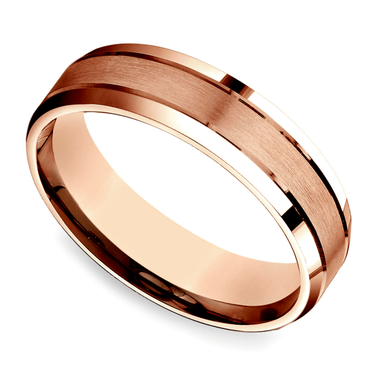 Satin Beveled Men's Wedding Ring in Rose Gold | 01