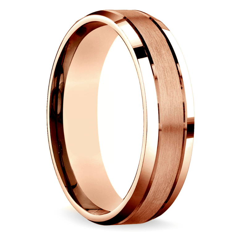 Satin Beveled Men's Wedding Ring in Rose Gold | 02