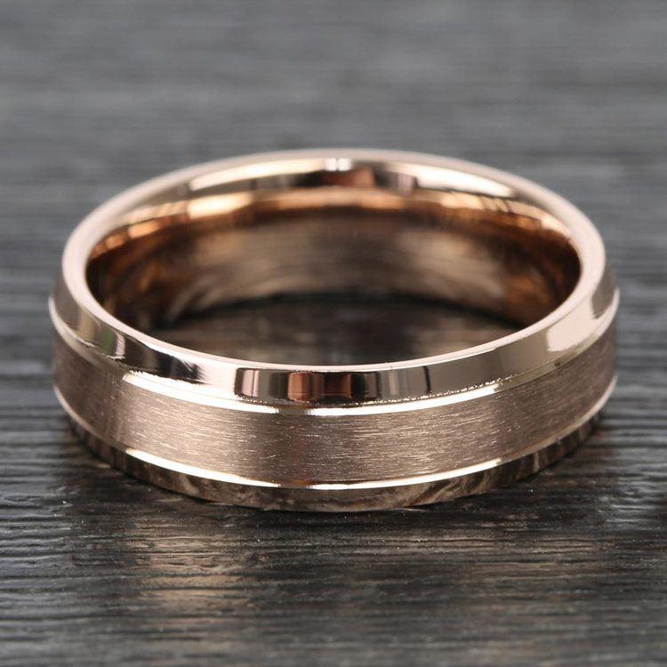 Satin Beveled Men's Wedding Ring in Rose Gold | 03