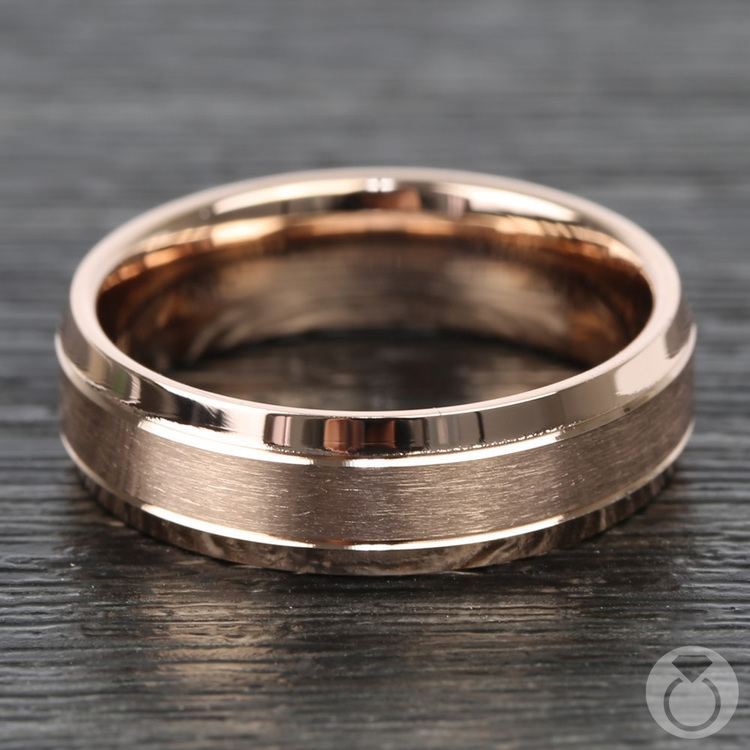 Satin Beveled Men's Wedding Ring in Rose Gold | 03