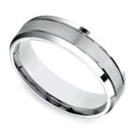 Satin Beveled Men's Wedding Ring in White Gold | Thumbnail 01
