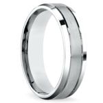 Satin Beveled Men's Wedding Ring in White Gold | Thumbnail 02