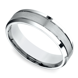 Satin Beveled Men's Wedding Ring in White Gold