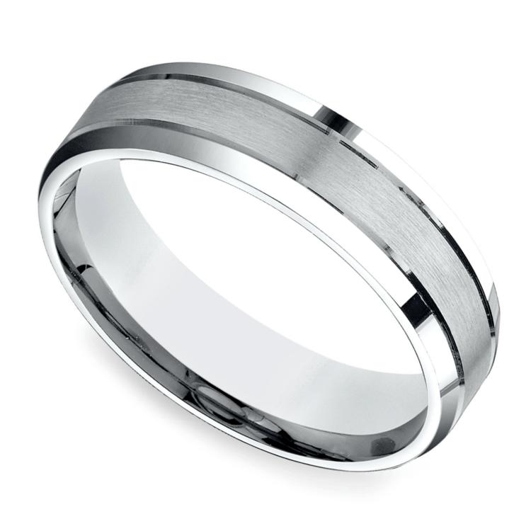 Satin Beveled Men's Wedding Ring in White Gold | 01