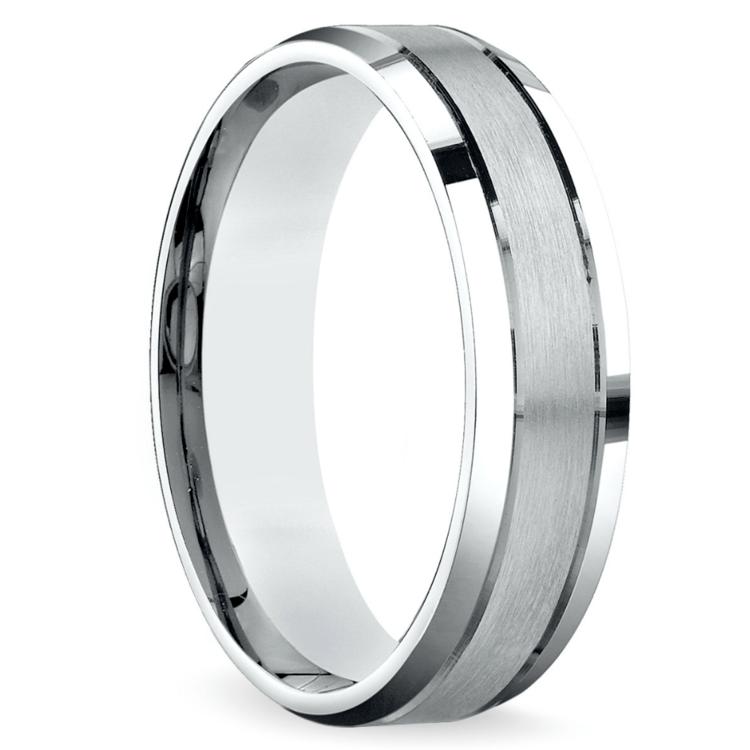 Satin Beveled Men's Wedding Ring in White Gold | 02
