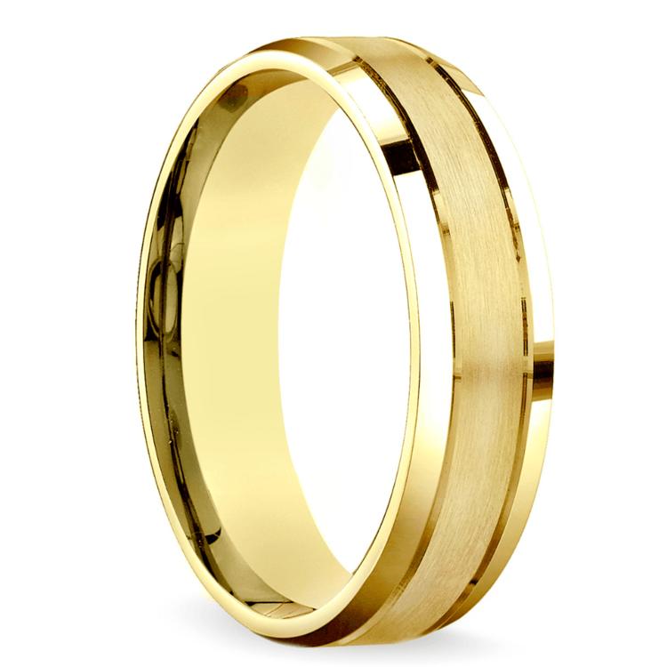 Satin Beveled Men's Wedding Ring in Yellow Gold | 02