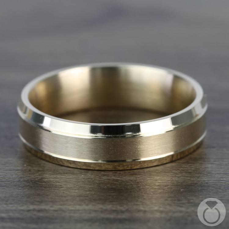 Satin Beveled Men's Wedding Ring in Yellow Gold | 03