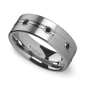 Satin Black Diamond Men's Wedding Ring in Tungsten